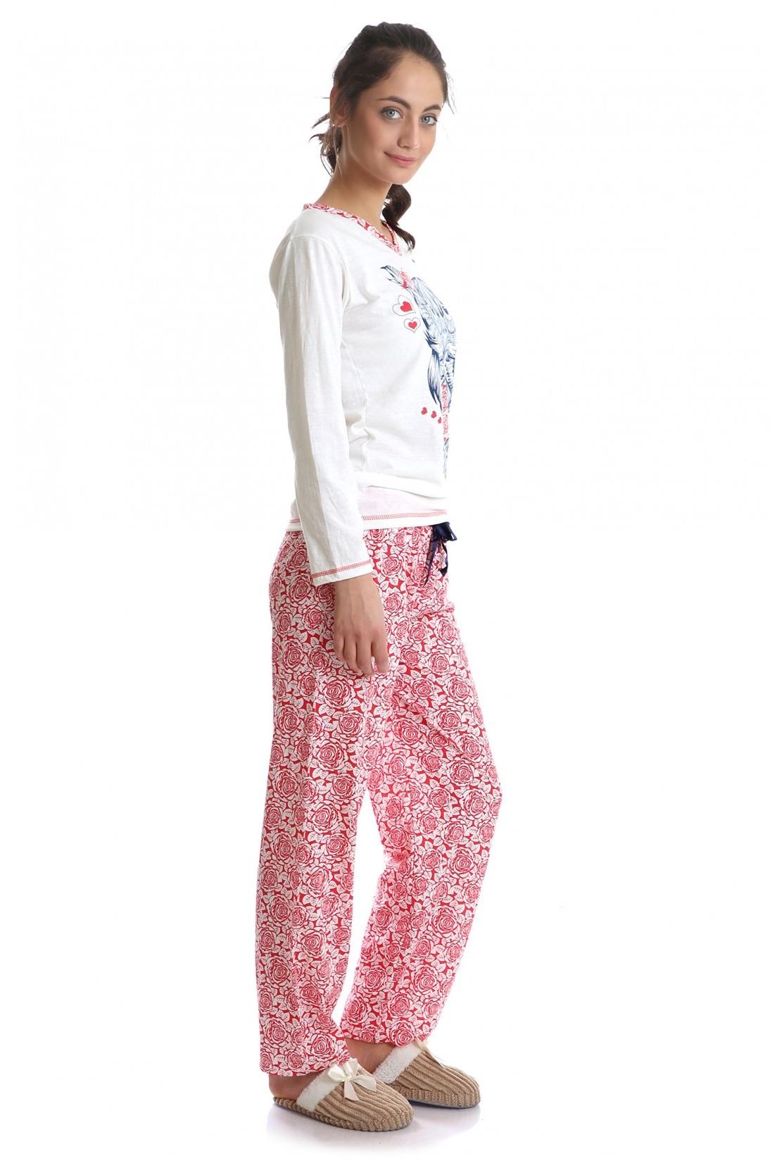 a11e59e5adb Дамска Пижама - Син Бухал/Червени Рози | Пижами | Дамски пижами ...