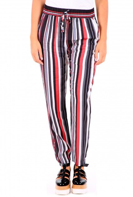 00a4543dcb8 Дълъг Летен Панталон / Черно и Червено Райе 14.90